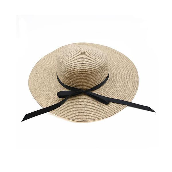 כובע קש שמנת עם סרט שחור
