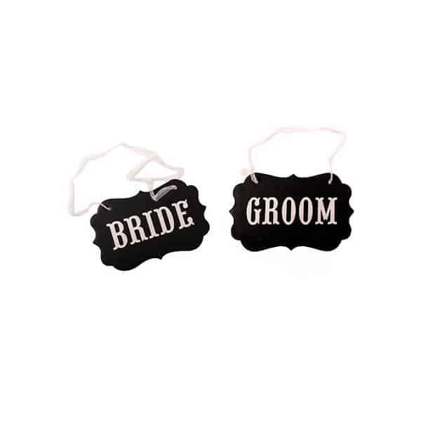 שלטים Bride ו- Groom - שחור