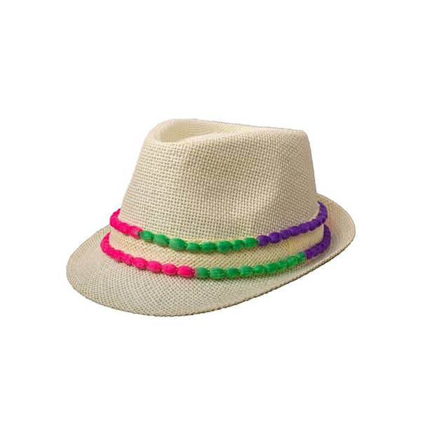 כובע-קש-פונפונים-צבעוניים